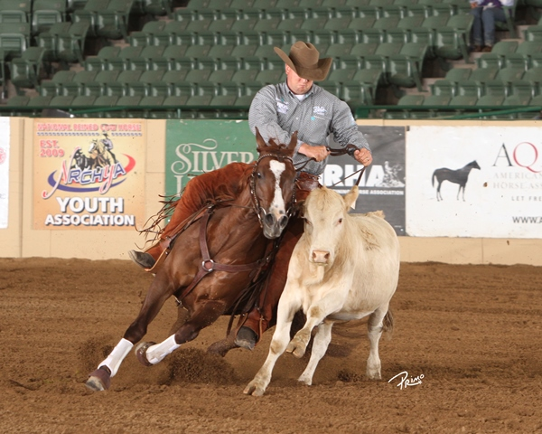 2014 Snaffle Bit Futurity Open Champion Good Time (One Time Pepto x Dual Nurse x Dual Pep) owned by Lynne Wurzer and ridden by Corey Cushing.